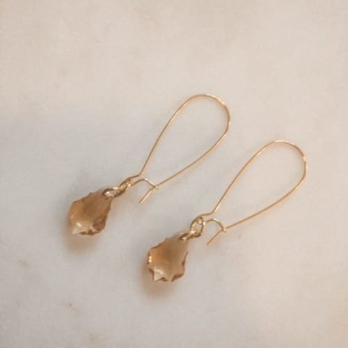 kayla gold fish hook drop earrings with topaz crystal