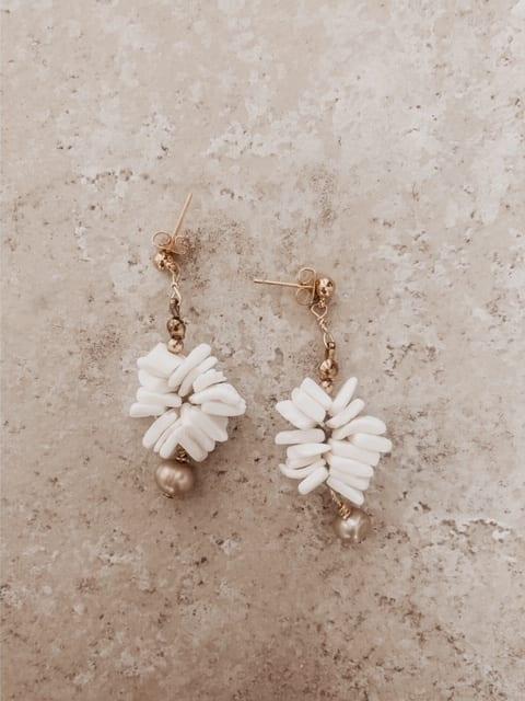 static shell drop earrings on gold post