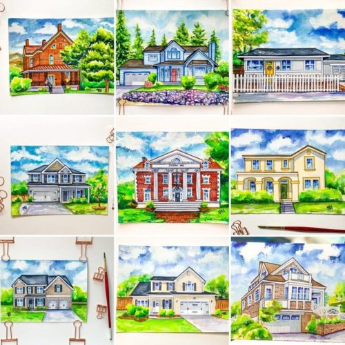 Watercolor House Portraits