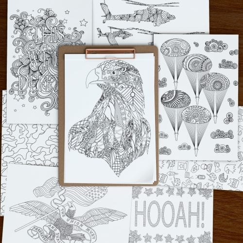 Several blank coloring pages containing eagles, helicopters, paratroopers, camoflage, stars, and the word Hooah on a brown background.